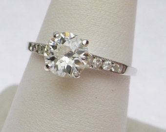 Reduced! 14kt Old European Cut 75 pt Diamond with 10ptw Sides Engagement Ring 1920s or Earlier
