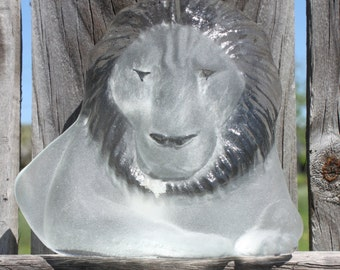 Vintage Viking Art Glass Frosted Glass Lion Bookend Paper Weight