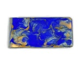 Money Clip Hand Painted Enamel in Electric Blue with Gold Quartz Inspired in a Glossy Finish Customizable Colors with Personalzied Option