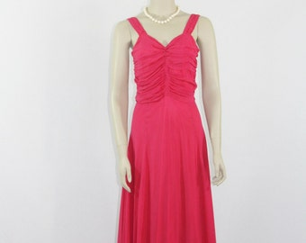 SALE.....1940s Long Dress - Hot Pink Silk Chiffon Full Length Wedding Party Prom Gown - 36 / 30 / full