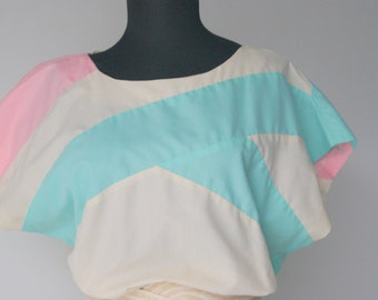 Vintage 1980s Pastel Abstract Dress
