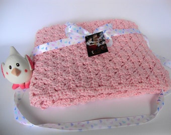 Crochet Baby Blanket, Crib Size Blanket, Pink Baby Blanket, Alpaca Blanket, Baby Gift, Toddler Gift, Wild Rose Blanket