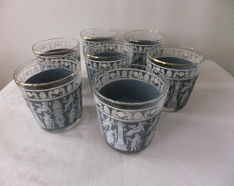 Vintage Jeannette Corinthian Blue Drinking Glasses Set of 7 Highball Retro Roman Greek