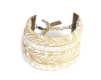 Feather String Cuff in Gold on White