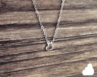 Sterling Silver Tiny Heart Necklace - Modern Dainty Minimal Simple Necklace - Cute Gift - morganprather