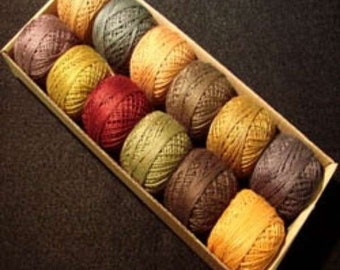 Valdani Perle Cotton Size 8 Embroidery Thread Fall Rhapsody Collection Sampler