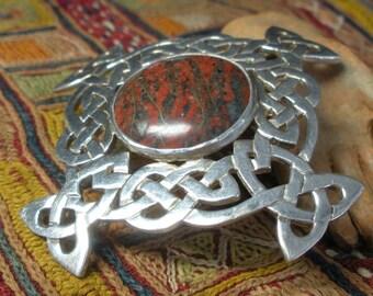 Vintage Celtic Sterling Jasper Artisan Pendant