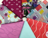 SALE: Sew Retro Fat Quarter Fabric Bundle by Alexander Henry with coordinating prints (sewing, thread, buttons, thimbles, measuring tapes)