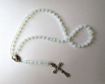 Opalescent Glass Rosary, October Birthstone Catholic Rosary