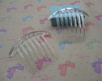 50pcs Clear Color Plastic Hair Comb with 7 Teeth Barrette Pin 106x85mm