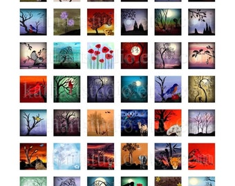Instant Download - Digital Collage Sheet of my original paintings .75x.83 scrabble tile pendants, jewelry, magnets 52B