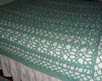 New(Ready to Ship) Crocheted  Afghan - Blanket -  Throw - Coverlet - Bedspread - XLarge  ''BOUDOIR''   in Soft Sage