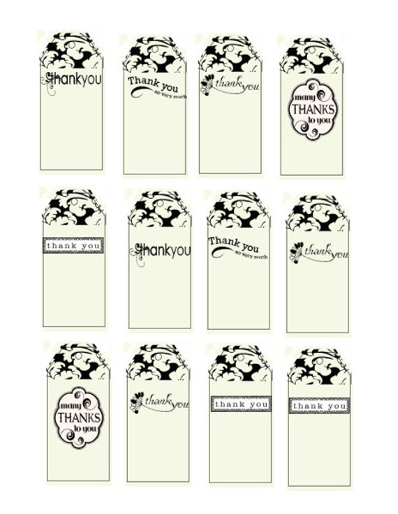 12 White Thank You Tags-Digital Immediate Download