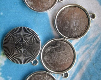 20 pcs 21mm tibetan silver round cameo/cabochon base setting pendant