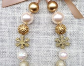 Gold and Cream Necklace with Gold Glitter Snowflakes