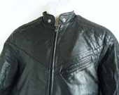 early 80s black leather MOTO jacket, cafe racer collar, members only style biker jacket, mens size small or 36