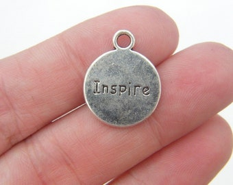 BULK 20 Believe and inspire charms antique silver tone M284