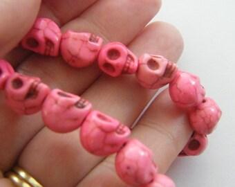 40 Pink skull beads 10 x 8mm