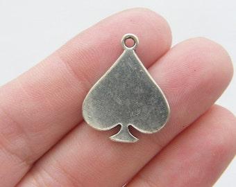 6 Spades card suit charms  antique silver tone P274