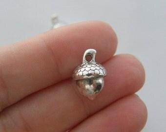 6 Acorn charms tibetan silver L161