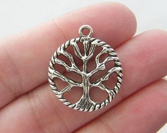 6 Tree pendants antique silver tone T40
