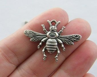 4 Bee charms antique silver tone A313