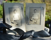 Set of 2 Antique Portraits of a Cute Baby Girl with Bangs C.1920s