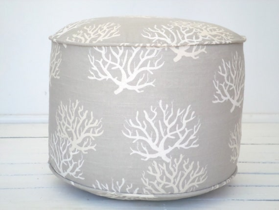 Items Similar To Gray Coral Pouf Ottoman 18 For Beach