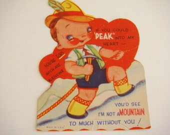 Mountain Climbing Valentine 1940's Mountain Climber Repelling
