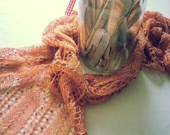 Orange Gold Silk Shawl Handknit Item with brown glass beads