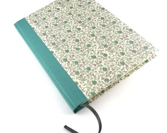 A5 Diary / floral Notebook  green flowers