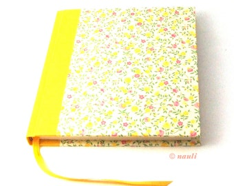 pink yellow Notebook, floral journal, Poetry Album Flower Rain, square book
