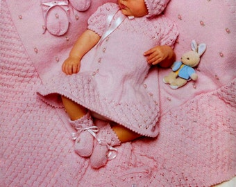 BABY KNITTING PATTERN - Baby Dress, Jacket, Bonnet, Booties, Mitts and Shawl -  0 to 6 months