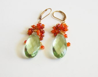 Green Amethyst Quartz And Carnelian Cluster Dangle Drop Earrings- Cluster Earrings-Mother's Day
