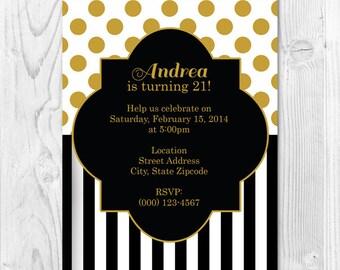 Gold White and Black Printable Birthday Invitation 4x6 or 5x7