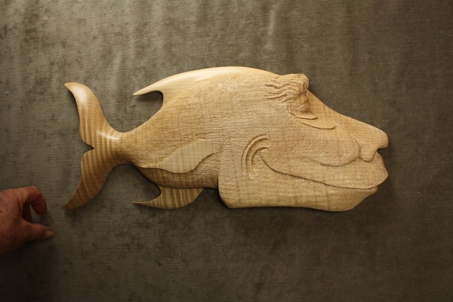 A carved wood fish carving ooak fishing sculpture gift