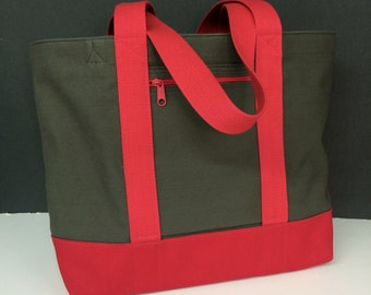 Canvas Two-Color Tote Bag, Medium, with zippered pockets & double bottom