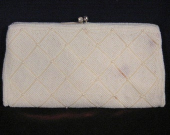 Vintage Richere Japan White Beaded Evening Bag Clutch or Purse, 1950s to 1960s Mid Century Wardrobe, Rhinestone Clasp, Glass Beads,