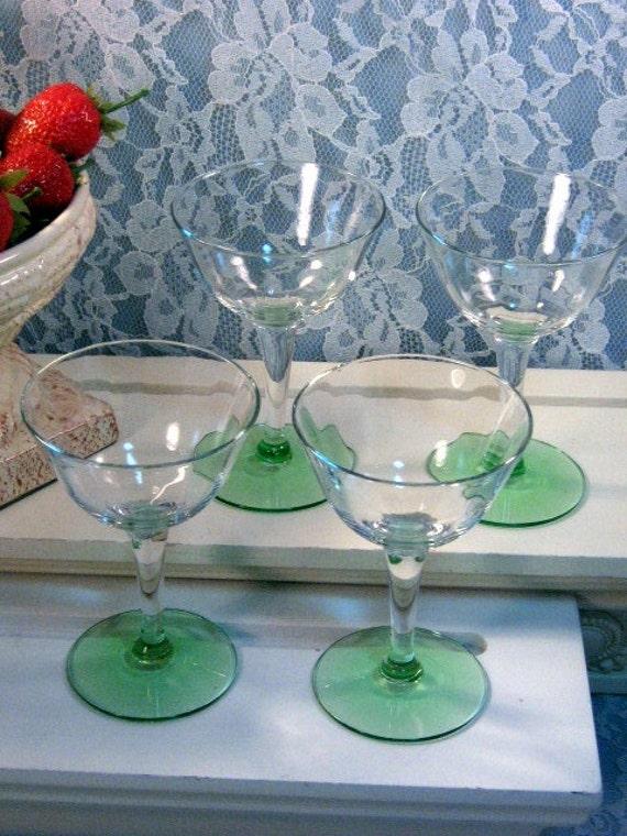 Antique Vintage Cambridge Green Depression Glass Wine Cocktail