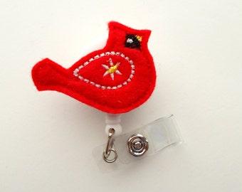 Cardinal - Retractable ID Badge Reel - MD Badge Holder - Cute Badge Reel - Nurse Badge Holder - Nursing Badge Clip - Felt Badge