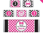 Minnie Mouse Party - Personalized DIY printable Hershey bar labels - Choose red or pink