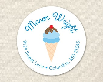 Ice Cream Cone Address Labels / Blue Ice Cream Address Labels - Sheet of 24