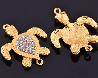 9pcs 38X31mm Metal Alloy Turtle Shape Crystal Rhinestone Bracelet Connector Charms Craft Jewelry Making Findings --- DZ002
