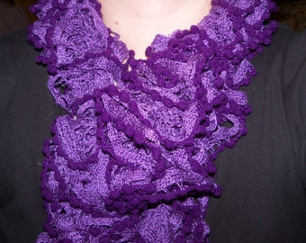 Purple Ruffled Scarf with Mini Pom-Poms Violet Knitted Gifts for her