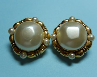 Vintage Chanel Faux Pearl Button Earrings