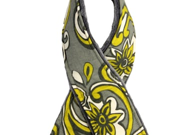 Camera Strap Cover Gray and Yellow with Minky