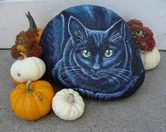 Black Cat Painted Stone Art, life size, green eyes, Ready for a New Home!  FREE SHIPPING, Painted rocks by Shelli Bowler