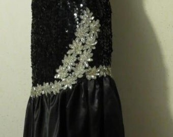 Vtg 80s Black and White Sequin Bead Satin Off Shoulder Origami Bow Sleeves Asymmetrical Mermaid Full Length Gown