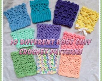 Ten Different Boot Cuff Crochet Patterns