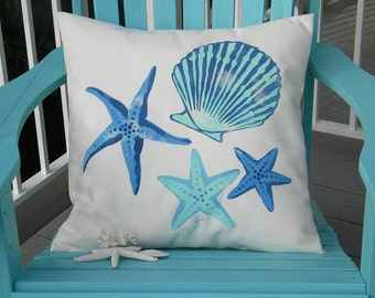 """Outdoor pillow SEASHELL SCATTER 20"""" (50cm) square or 15""""x20"""" rectangle painted coastal ocean beach shelling marine aquarium Crabby Chris"""